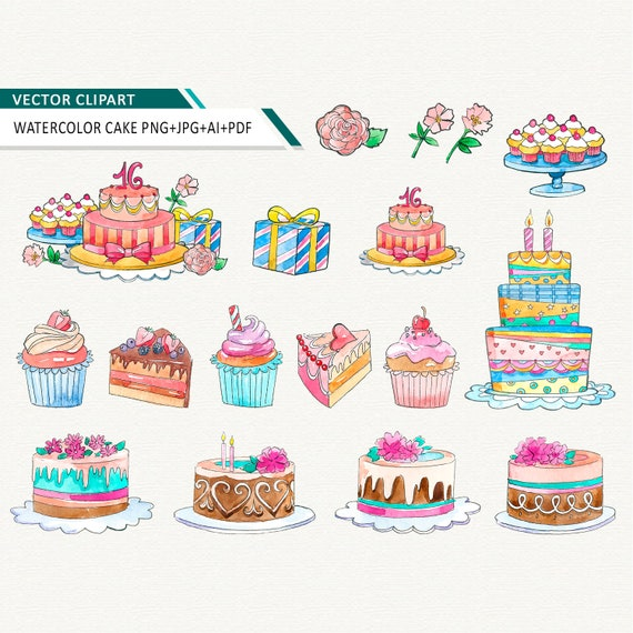 Swell Watercolor Birthday Cake Clipart Cupcake Vector Clip Art Etsy Funny Birthday Cards Online Fluifree Goldxyz