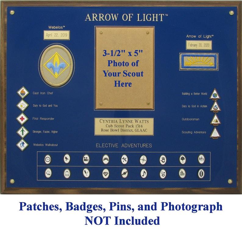 Webelos  Arrow of Light Plaque Cub Scout Gift Webelos Award Display Plaque Cub Scout Graduation Gift Photo Deluxe Arrow of Light Plaque