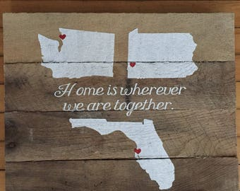 Home is wherever we are together pallet wood sign