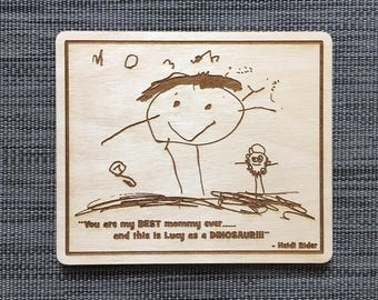 Child's Drawing, Kid, Art, Personal, Love Letter, Recipe Card, Signature, Custom, Laser, Engraving, Engrave, Wood, Sign, Mother, Father Day