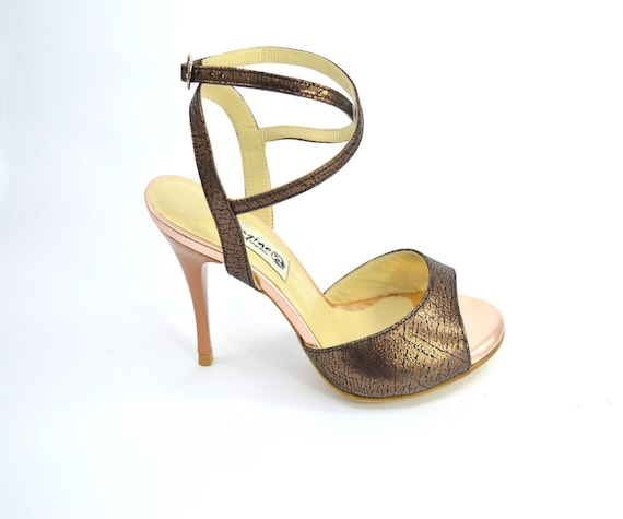 d4d114bd8282c Imagine F-728 Women's Argentine Tango Dance Shoes, open heel style, by  gold-bronze soft leather