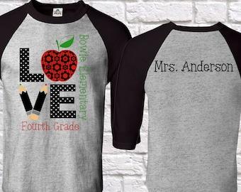 teacher shirt ( Custom SCHOOL – GRADE- teacher name  ) teacher shirt, back to school , First Grade, teacher shirts ,Teacher shirt ,Teacher