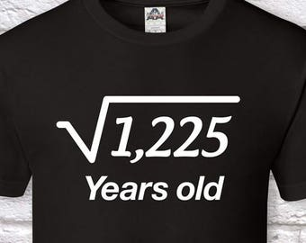 35 Years Old Square Root 35th Birthday Gifts For Men Gift Tshirt Father Day