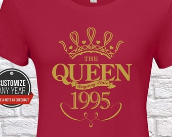 Queen Since 1995 24th Birthday Gifts For Women Gift Tshirt Party