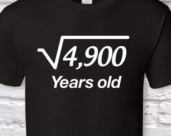 70 Years Old Square Root 70th Birthday Gifts For Men Gift Tshirt Father Day