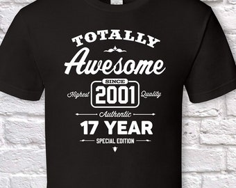 fece57523569 Totally awesome since 2001, 18th birthday gifts for men, 18th birthday  gift, 18th birthday tshirt, gift for 18th Birthday for men Father Day