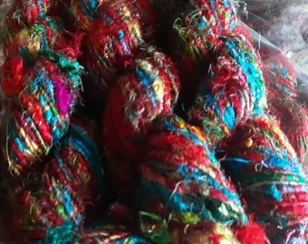 handspun art yarn, recycled sari silk yarn,
