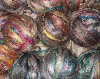 Recycled Sari silk sliver, silk, multicolor, upcycle, spinning, felting,