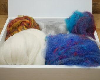 Fancy fibers spinning kit, angora, silk, merino, roving, batt.  Perfect spinning exploration kit