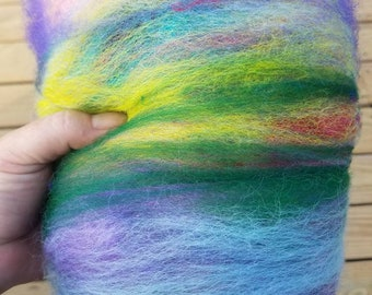 Art batt - hand dyed Alpaca,  merino. Silk, firestar,  perfect for felting, spinning, fairy dance