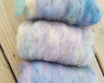 Art batt - hand dyed Alpaca,   perfect for felting, spinning, English garden