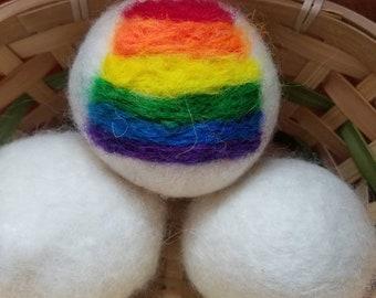 Fancy rainbow pride gift set wool Dryer balls--set of 3