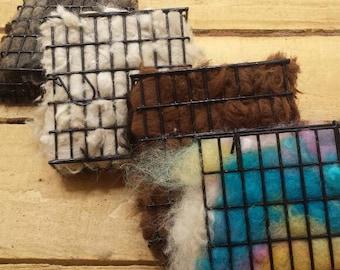 Bird nesting material boxes.  Natural fibers, alpaca, wool,