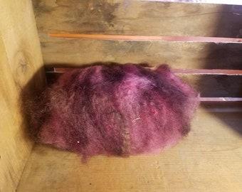 Art batt - hand dyed merino, bfl, angora,   perfect for felting, spinning,