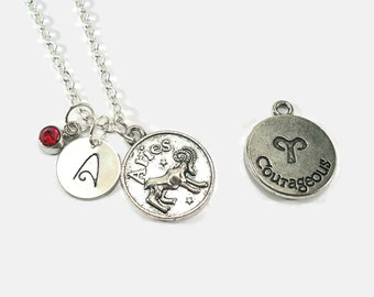 Aries Zodiac Sign Personalized Charm Necklace with Birthstone, Choose a Letter and Birthstone - FREE US SHIPPING