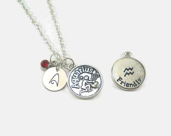 Aquarius Zodiac Sign Personalized Charm Necklace with Birthstone, Choose a Letter and Birthstone - FREE US SHIPPING
