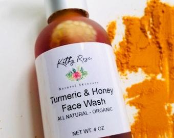 Face Wash, Turmeric & Raw Manuka Honey, cleanser, organic skincare, Acne Treatment, All Natural,
