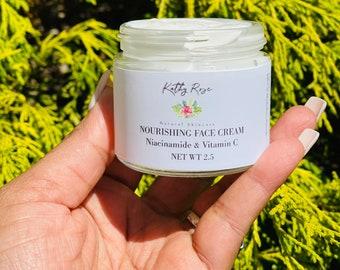Nourishing Face Cream with Vitamin C , Dark Spots, Acne Control, Niacinamide, Vegan Moisturizer