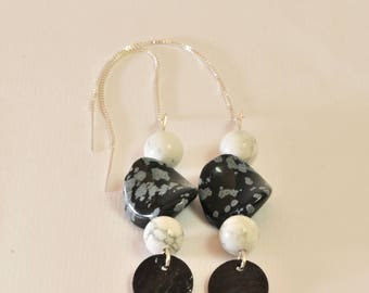 Black and white earrings on 925 sterling silver chains