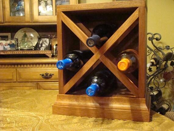 4 Bottle Mid Century Modern Wine Rack Handmade Custom Wood Etsy
