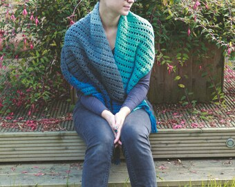 Handmade crochet triangular shawl