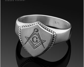 Signet Mason Mens Silver Ring 'Freemason' by SANDRO VERARDI Masonic /R010