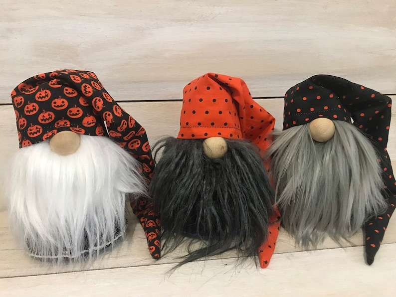 Halloween Home Decor Gnome Trio Set Gnome with Scrunchy Hat image 0