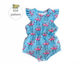 Summer romper pattern, kids romper sewing pattern