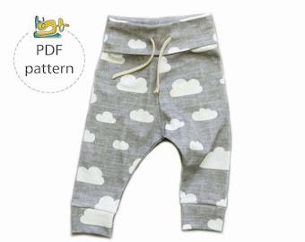 Baby pants sewing pattern, jogger pants pattern, baby leggings pattern, child's pants sewing pattern, baby sweatpants pattern