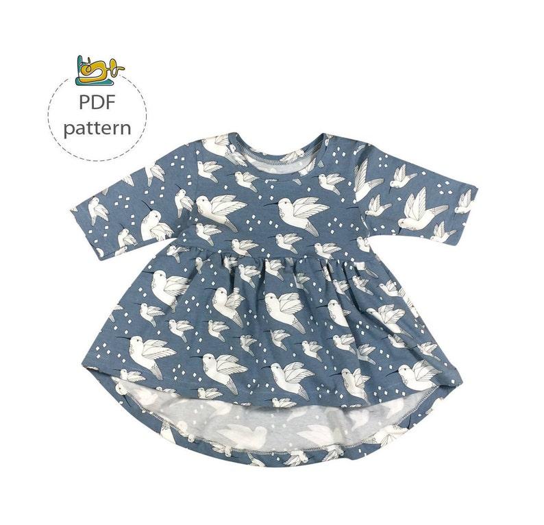 Baby tunic pattern Peplum top sewing pattern toddler tunic image 0