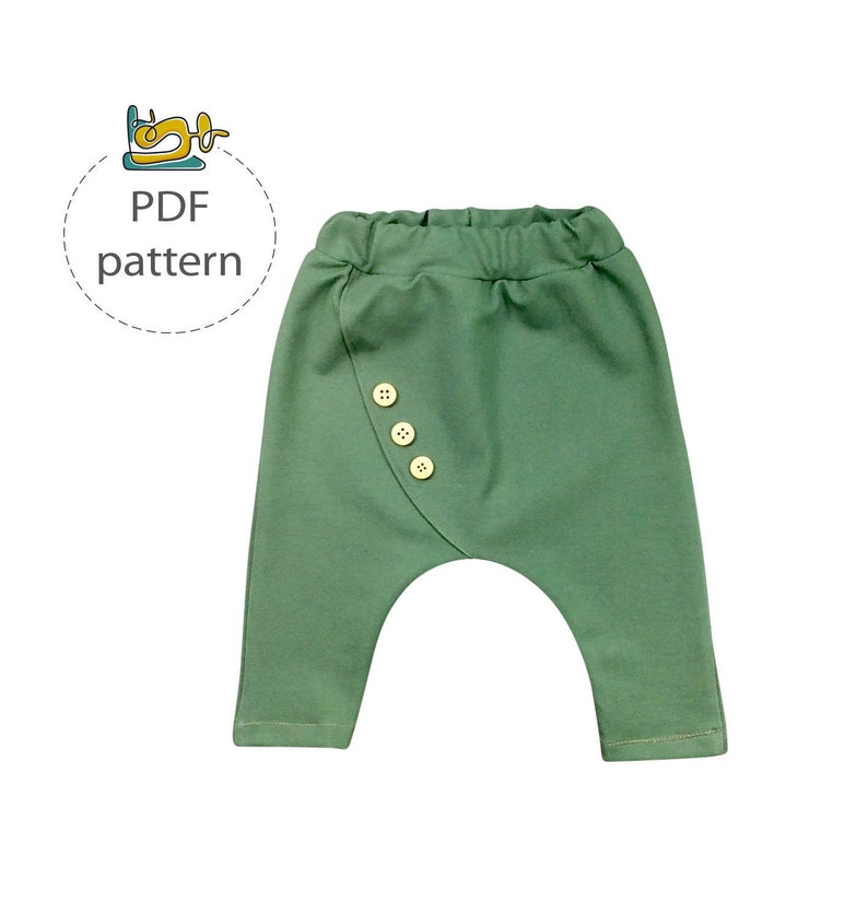 Baby harem pants pattern sewing pattern for child pants PDF image 0