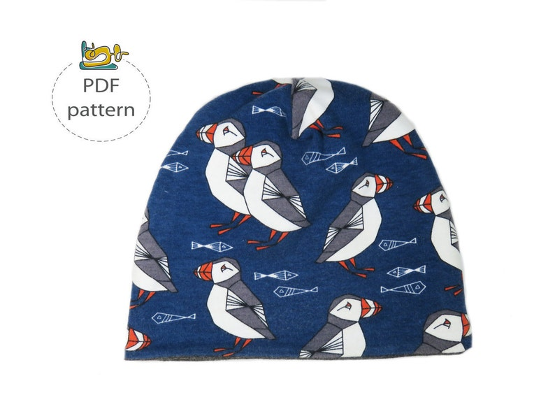 Baby hat sewing pattern reversible beanie pattern image 0