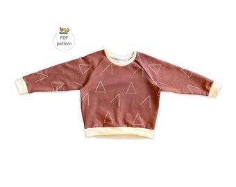Oversized sweatshirt pattern, Raglan sweatshirt sewing pattern 0-14 years
