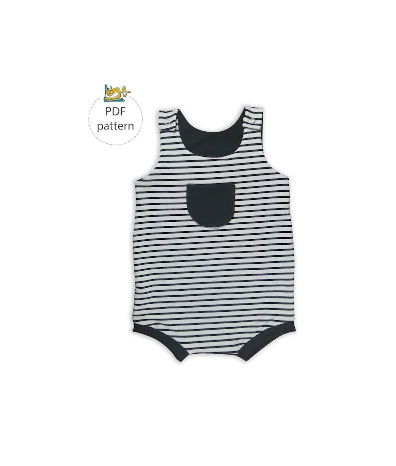 Romper sewing pattern Short romper pattern baby boy girl image 0