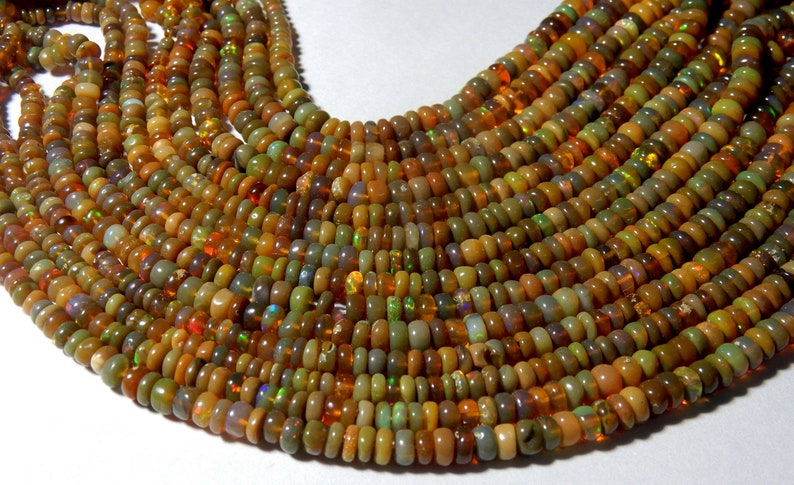 5 STRAND Honey Color Natural Ethiopian opal Roundel Smooth Polished Beads 3 to 5 MM Size Welo fire Opal Beads 16INCH Long Strand  low Price