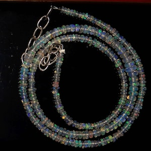 Quality Roundel Beads Multi Fire 16inch Long Strand no4 Amazing Quality Natural Ethiopian Opal Beads Necklace 3 MM To 5 MM Size AAA++