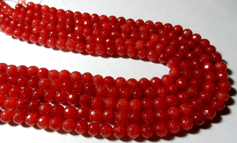 Quality Beads Gemstone 15inch Long Strand Amazing Quality Dyed Red Natural Jade Roundel Faceted Balls Beads 6 MM Size AAA++