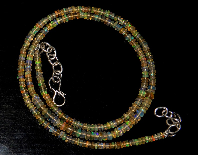 Necklace Natural Top Quality Ethiopian opal  Gemstone Smooth Roundel Bead Shape  Length 16 Inches Size = 3 mm to 5 mm