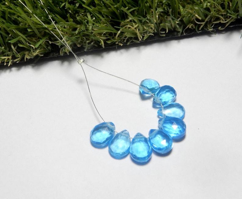 8 Pieces Swiss Blue Topaz Gemstone Faceted Pear Shape Briolette Beads 10x7 MM Size Swiss Blue Topaz Quartz Gemstone In whole sale Prize
