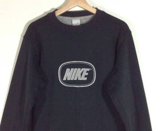 Nike Embroidery Logo Spellout Black Sweatshirt | Sweater | Jumper Size M