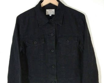 8450790cfe 90 s Armani Jeans Black Button Giorgio Armani Women s Denim Vintage Jacket