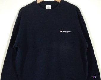 Champion Embroidered Logo Crewneck Pullover Navy Blue Vintage Sweatshirt  1079e63bbbf