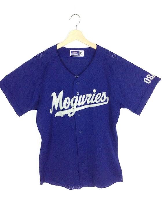 90's Osaka Japan Baseball Mizuno Vintage Jersey #1 Blue Shirt Size L