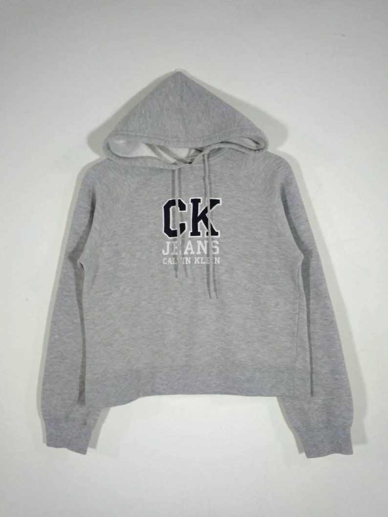 d6ec10a41bf CK Calvin Klein Jeans Hoodie Embroidered Logo Pullover Gray