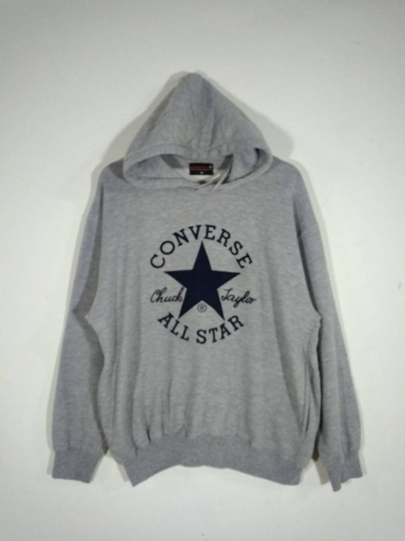 CONVERSE ALL STAR Hoodie Embroidery Big Logo Pullover Gray  6d4ea24aae16