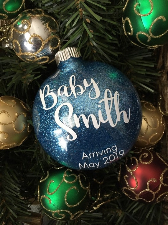 Pregnancy BOY shatterproof personalized Christmas Ornament
