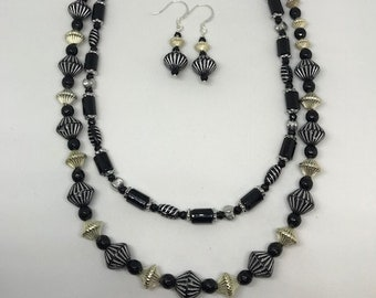 African Style Bicone and Black Onyx Multi Strand Necklace and Earrings