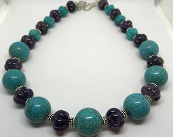 Carved Amethyst and Turquoise Necklace with Amethyst Bicone Earrings