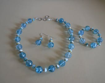 Blue Explosion Crystal Necklace, Bracelet, and Earrings