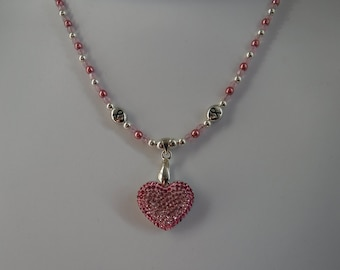 Breast Cancer Necklace with Swarovski Heart Pendant